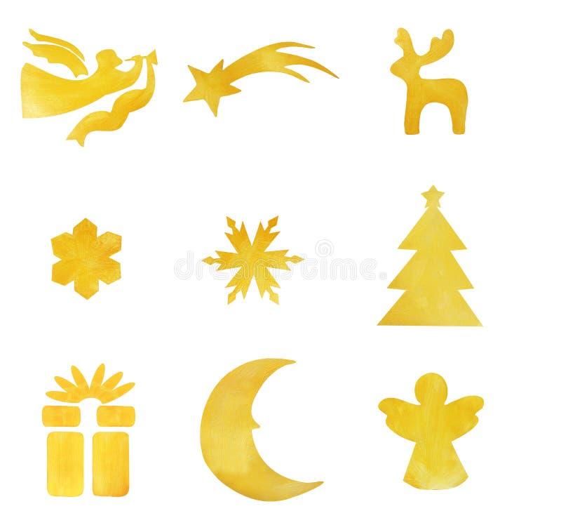 Элементы рождества покрашенные с декоративным гениальным, золотым PA стоковые изображения