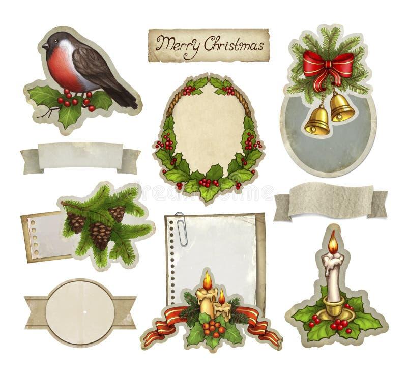 Элементы рождества сбора винограда декоративные иллюстрация штока
