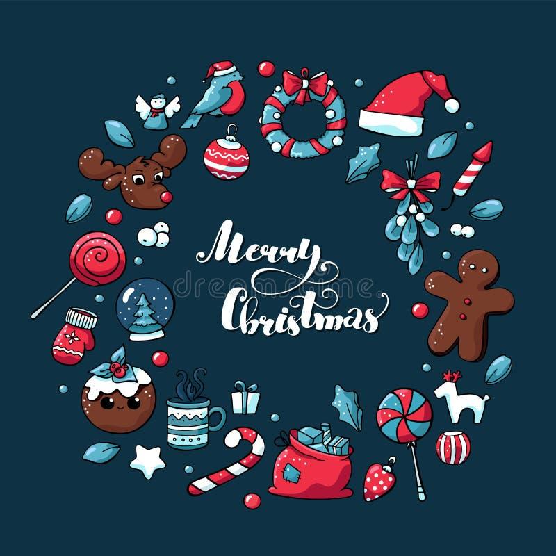 Элементы руки рождества Doodle вычерченные Иллюстрация рождества вектора с оленями, тортом рождества, леденцом на палочке, игрушк бесплатная иллюстрация