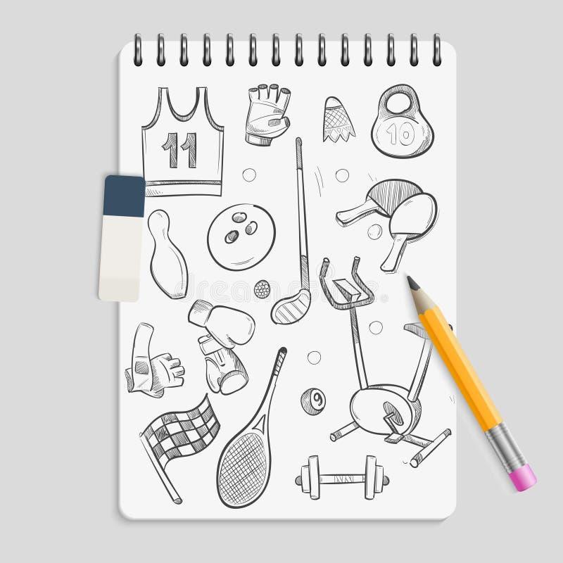 Элементы спорта Doodle на реалистической тетради иллюстрация вектора