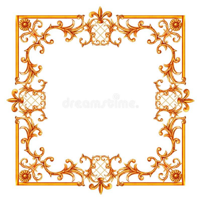 Элементы стиля Барокко Рисунок, нарисованный водяной ладонью, гравировка цветочного свитка, каркас иллюстрация штока
