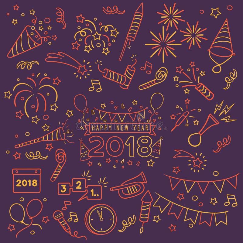 Элементы торжества Нового Года Doodle иллюстрация штока