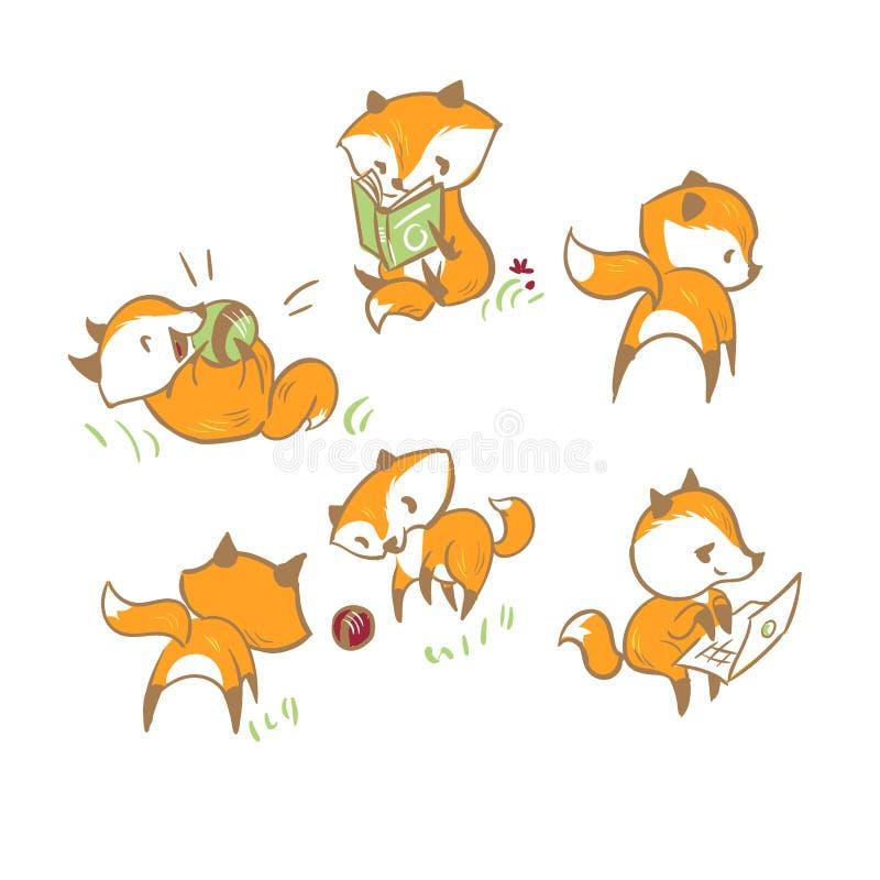 Элементы установленного дизайна младенца лисы характера вектора иллюстрация штока