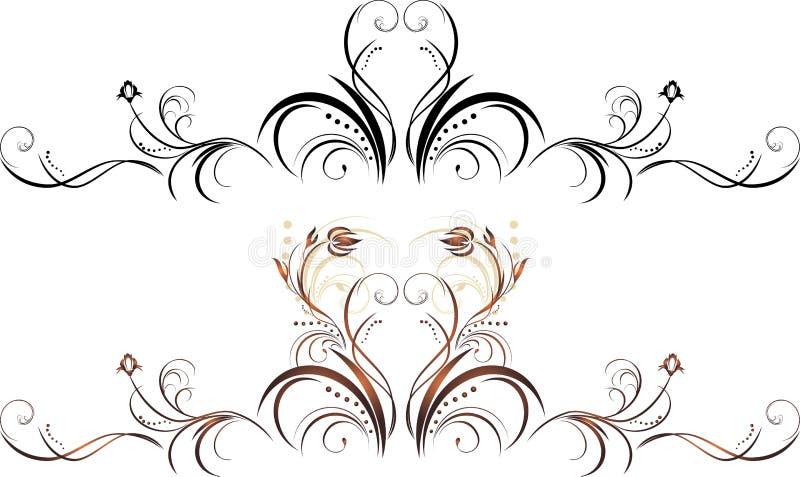 элементы флористические 2 декора иллюстрация вектора