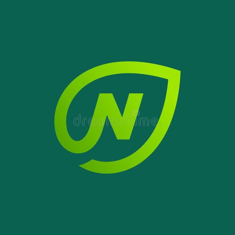 Элементы шаблона дизайна значка логотипа листьев eco n письма иллюстрация штока