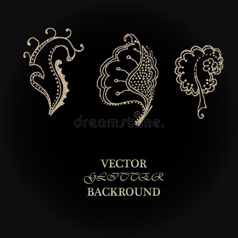 Элементы яркого блеска золота флористические Хороший для дизайна приглашения, предпосылки, брошюры или упаковочной бумаги свадьбы иллюстрация штока