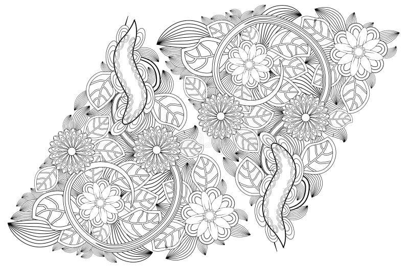 Элементы doodle татуировки хны на белой предпосылке Набор вектора цветков Mehendi Абстрактные флористические элементы в индийском иллюстрация штока