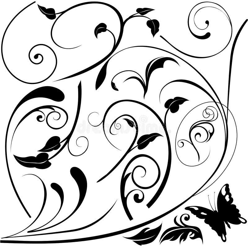 элементы e флористические иллюстрация вектора
