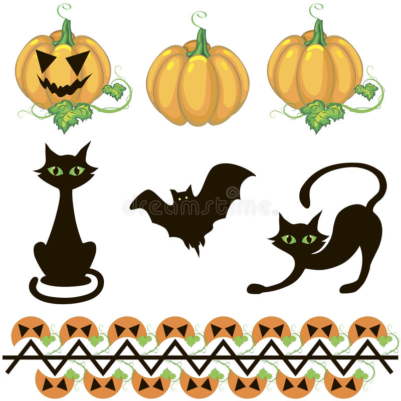 элементы halloween декора бесплатная иллюстрация