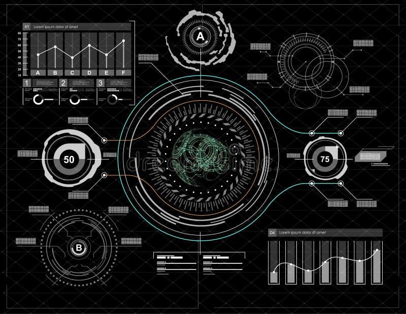 элементы infographic Элементы головного дисплея для сети и app Футуристический пользовательский интерфейс Виртуальный график бесплатная иллюстрация