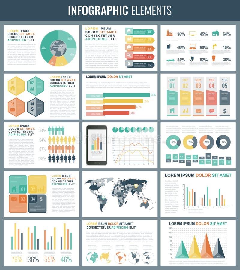 Элементы Infographic с картой и диаграммами мира вектор бесплатная иллюстрация