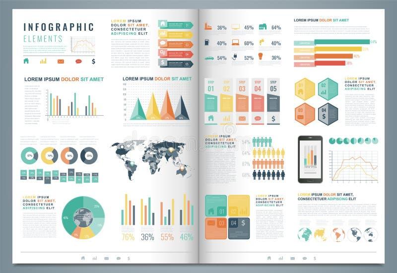 Элементы Infographic с картой и диаграммами мира вектор иллюстрация вектора