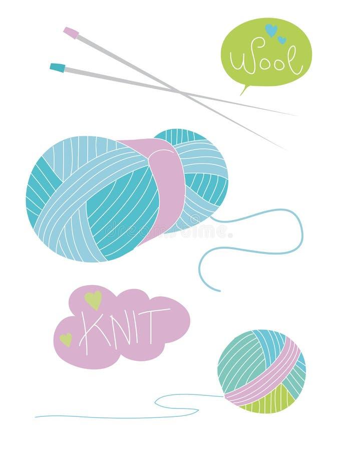 Элементы Knit иллюстрация вектора
