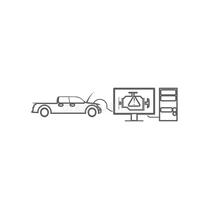 диагностики компьютера значка автомобиля Элемент автомобиля repear для мобильных концепции и значка приложений сети r бесплатная иллюстрация