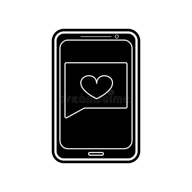 сообщение от полюбленного одного значка Элемент Валентайн для мобильных концепции и значка приложений сети Глиф, плоский значок д иллюстрация вектора
