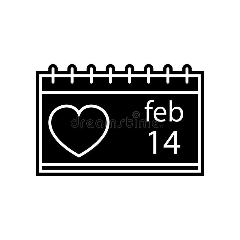 дата на значке календаря 14-ого февраля Элемент Валентайн для мобильных концепции и значка приложений сети Глиф, плоский значок д бесплатная иллюстрация