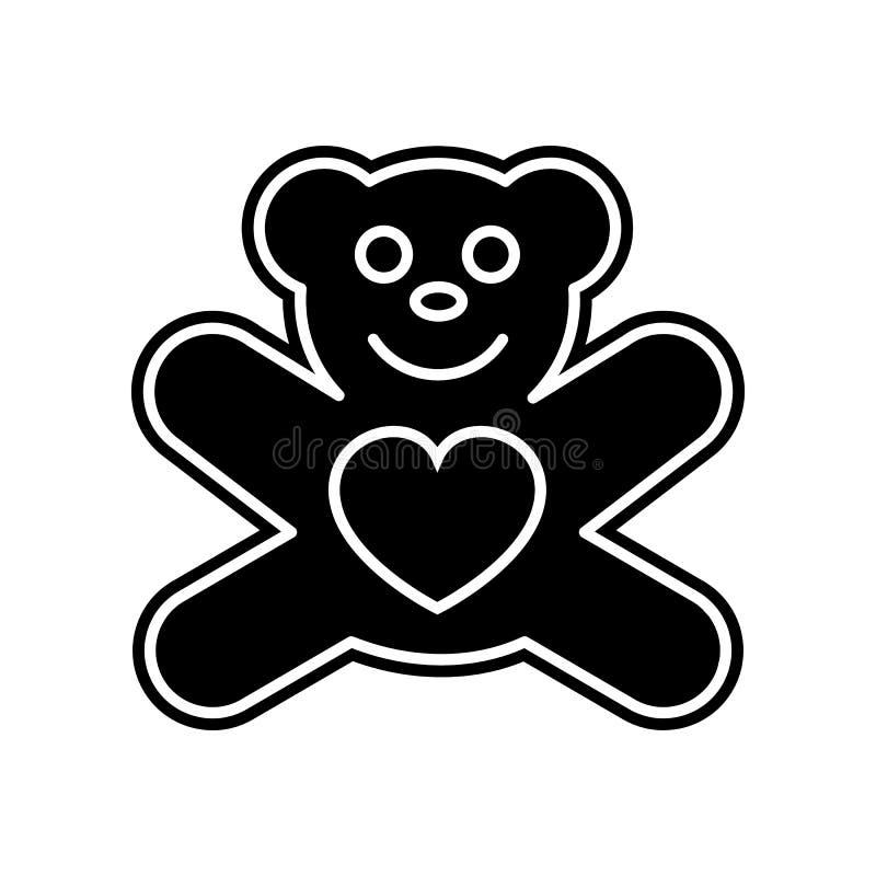 плюшевый мишка со значком сердца Элемент Валентайн для мобильных концепции и значка приложений сети Глиф, плоский значок для диза иллюстрация штока