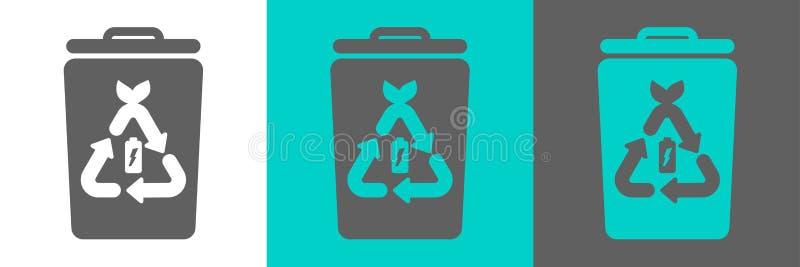 Элемент вектора мусорного ведра с значком плана батареи бесплатная иллюстрация