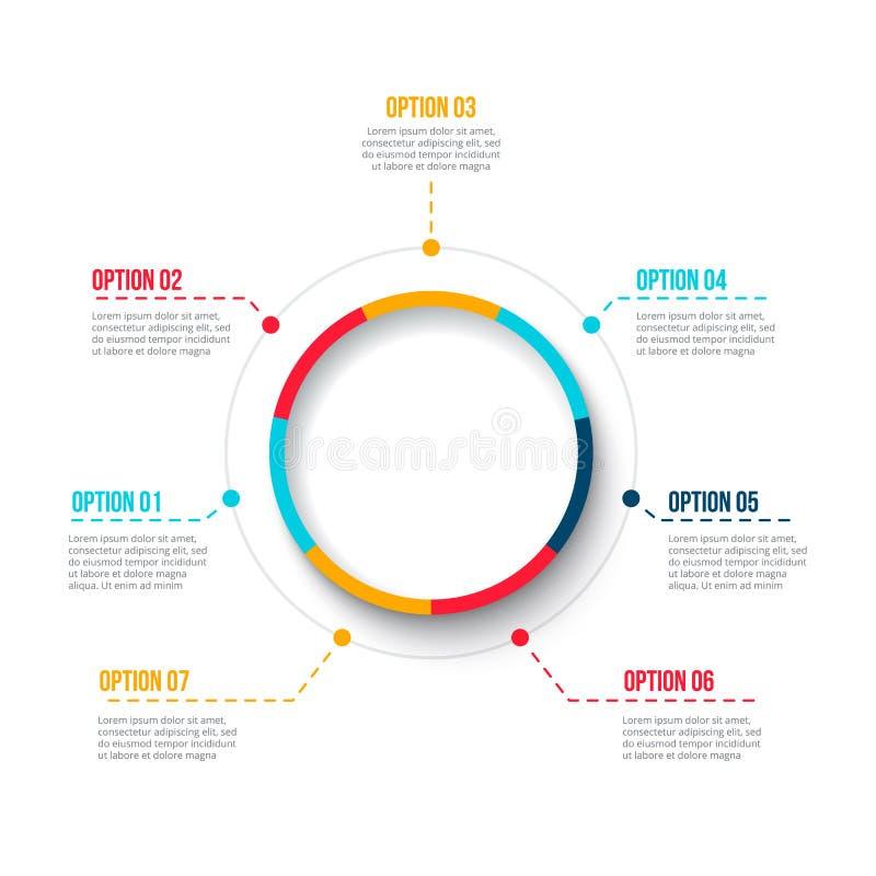Элемент графика дела цикла Бизнес-процесс infographic с 7 шагами объезжает Абстрактный вектор представления Template самомоднейше иллюстрация вектора