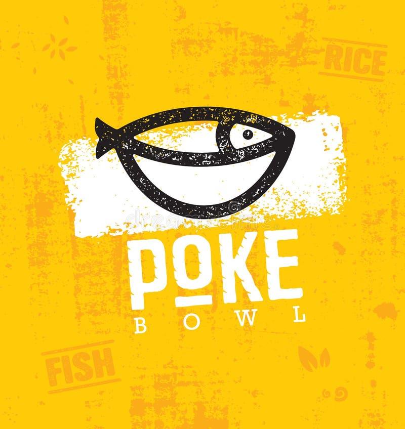 Элемент дизайна вектора ресторана кухни шара Poke гаваиский Иллюстрация здорового меню еды творческая грубая иллюстрация штока
