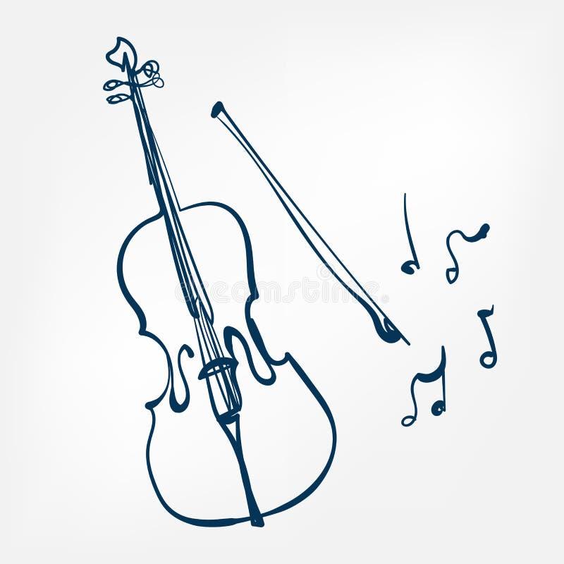 Элемент дизайна вектора эскиза виолончели изолированный иллюстрацией иллюстрация штока