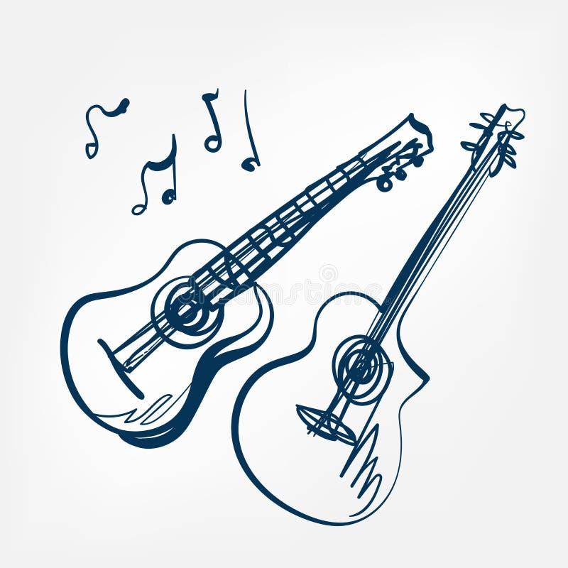 Элемент дизайна вектора эскиза гитары изолированный иллюстрацией иллюстрация штока