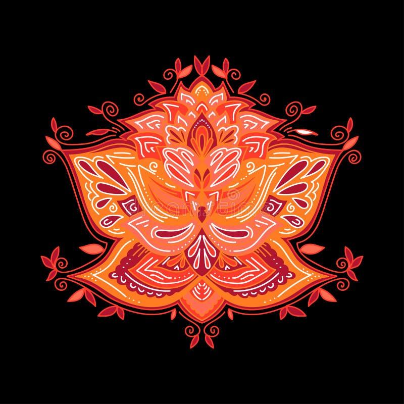 Элемент дизайна конспекта орнаментальный декоративный для циновки йоги, крышки, стикера, печатает Элемент цветочного узора Индийс иллюстрация вектора