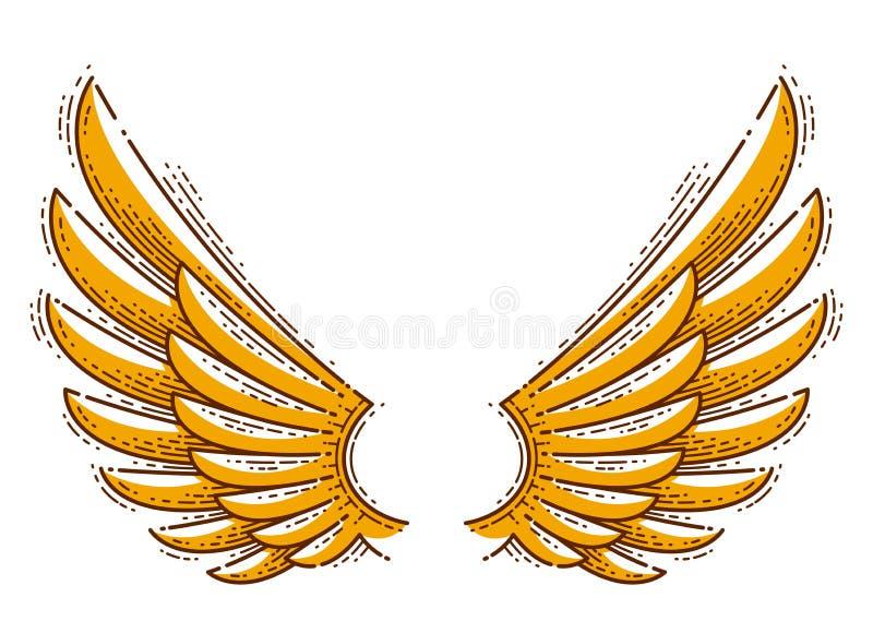 Элемент дизайна крыльев винтажный линейный изолировал легкое для использования, орла ворона ангела или сокола иллюстрация штока