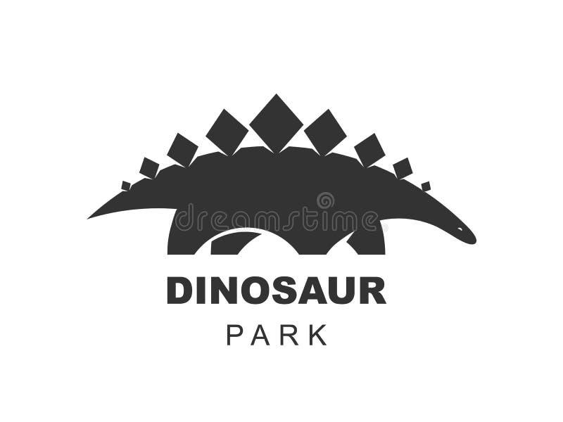 Элемент дизайна логотипа вектора динозавра стегозавра Юрский мир парка Силуэт динозавров изолированный на белой предпосылке Значо иллюстрация штока