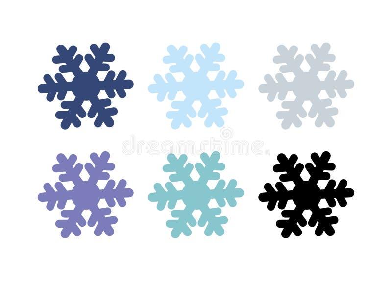 Элемент дизайна рождества декоративный набор зимы снежинки изолированный на белой предпосылке силуэт вектора снежинок бесплатная иллюстрация