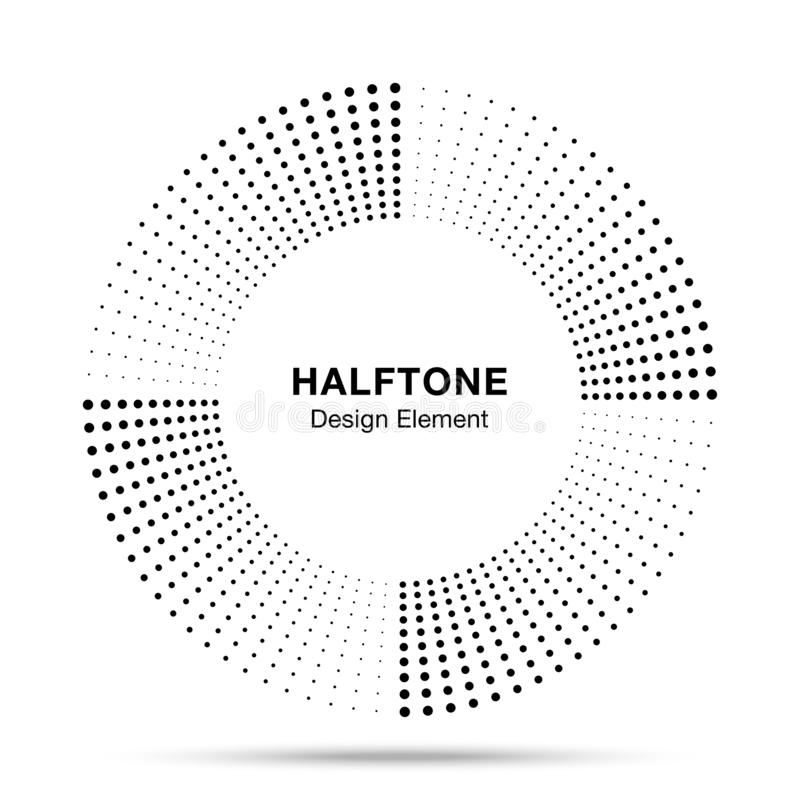 Элемент дизайна эмблемы логотипа точек конспекта рамки круга музыки полутонового изображения Значок полутонового изображения круг иллюстрация вектора