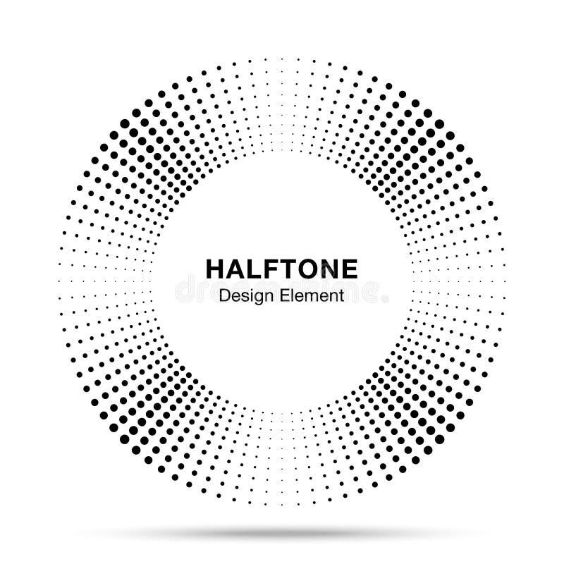 Элемент дизайна эмблемы логотипа точек конспекта рамки круга музыки полутонового изображения Значок полутонового изображения круг бесплатная иллюстрация