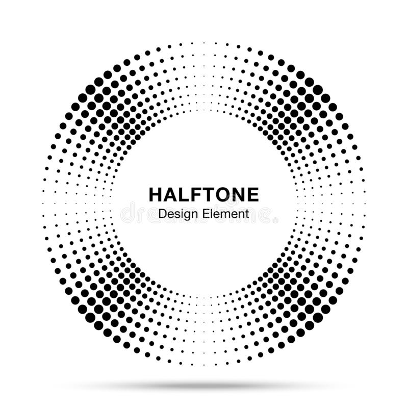 Элемент дизайна эмблемы логотипа точек конспекта рамки круга музыки полутонового изображения Значок полутонового изображения круг иллюстрация штока