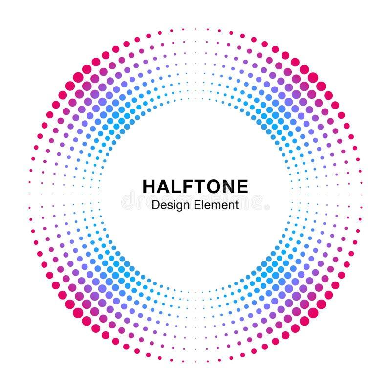 Элемент дизайна эмблемы логотипа точек конспекта рамки круга полутонового изображения красочный Значок полутонового изображения к бесплатная иллюстрация