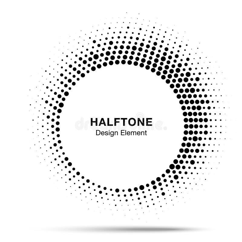 Элемент дизайна эмблемы логотипа точки конспекта рамки круга полутонового изображения Значок полутонового изображения круговой та иллюстрация вектора