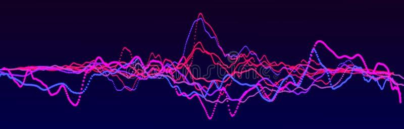 Элемент звуковой войны Выравниватель конспекта голубой цифровой r Динамическая светлая подача r иллюстрация штока