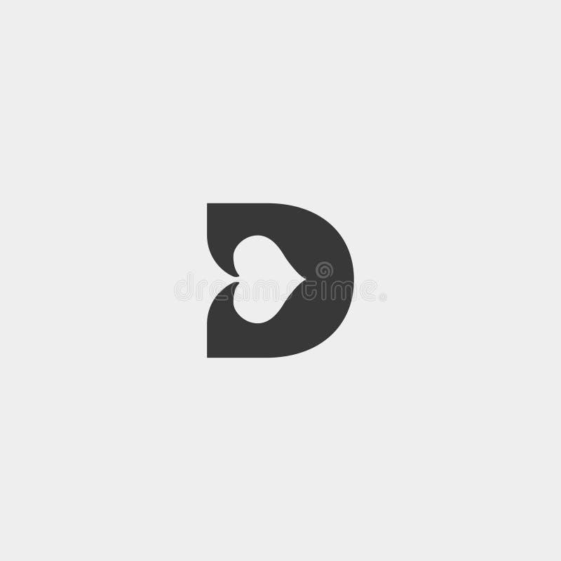элемент значка иллюстрации вектора шаблона дизайна логотипа покера письма d иллюстрация штока
