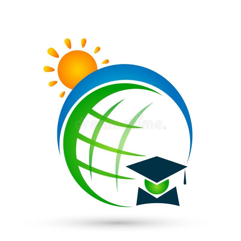 Элемент значка холостяка студентов градации значка логотипа солнца мира людей студент-выпускников образования глобуса успешный на иллюстрация вектора
