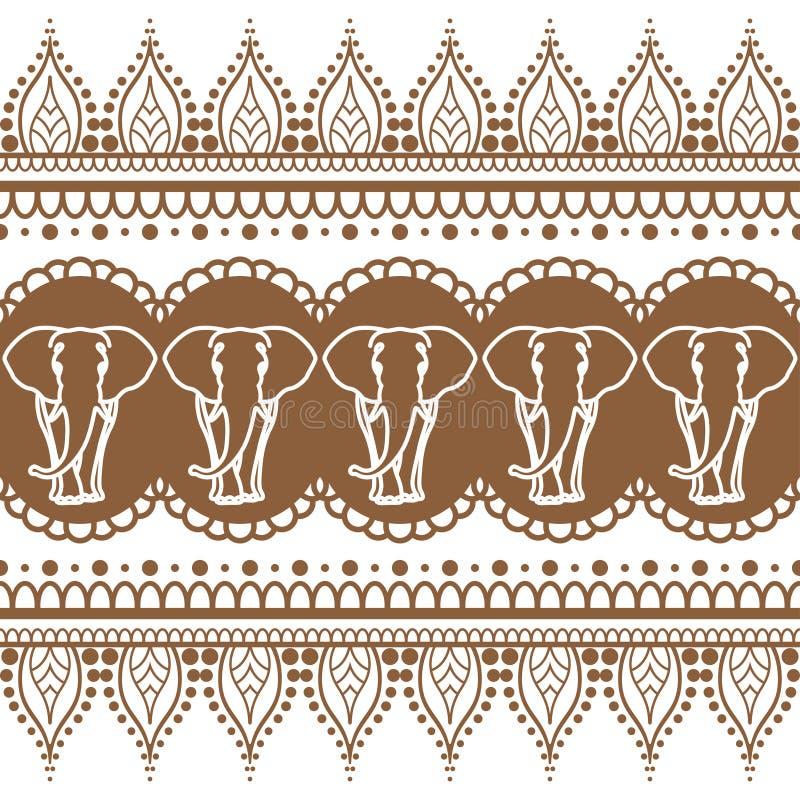 Элемент картины коричневой границы хны Mehndi безшовный со слонами и линией изолированным шнурком цветка в индийском стиле бесплатная иллюстрация