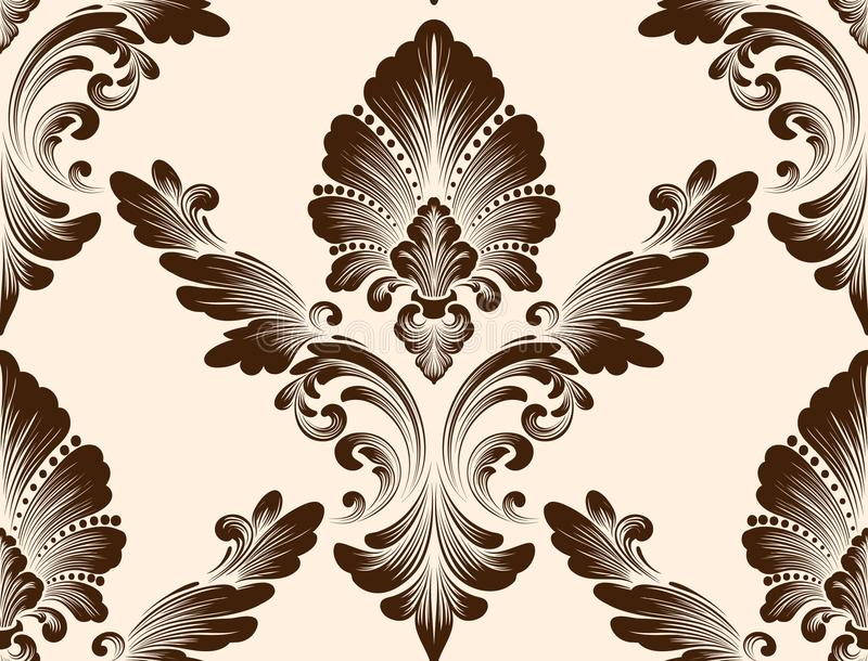 Элемент картины штофа вектора безшовный Классический роскошный старомодный орнамент штофа, королевская викторианская безшовная те иллюстрация вектора
