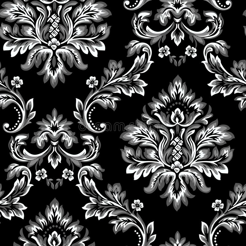 Элемент картины штофа вектора безшовный Классический роскошный барочный орнамент, королевская викторианская безшовная текстура дл иллюстрация штока