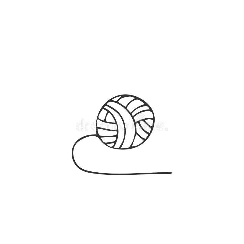 Элемент логотипа вектора руки вычерченный, изолированная иллюстрация Шарик пряжи Handmade тема бесплатная иллюстрация