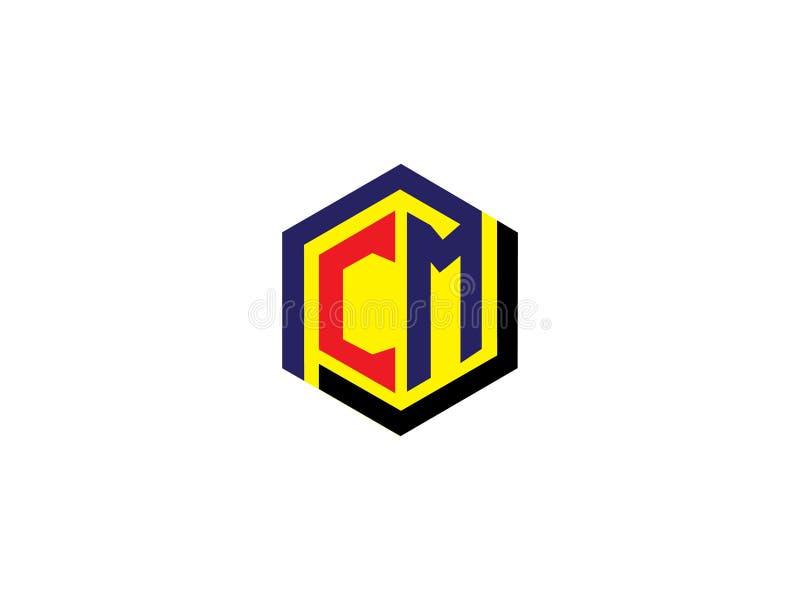 Элемент письма векторной графики логотипа дизайна шестиугольника СМ начального письма клеймя иллюстрация штока