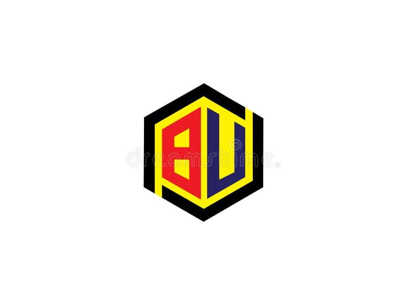 Элемент письма векторной графики логотипа дизайна шестиугольника БУШЕЛЯ начального письма клеймя иллюстрация вектора
