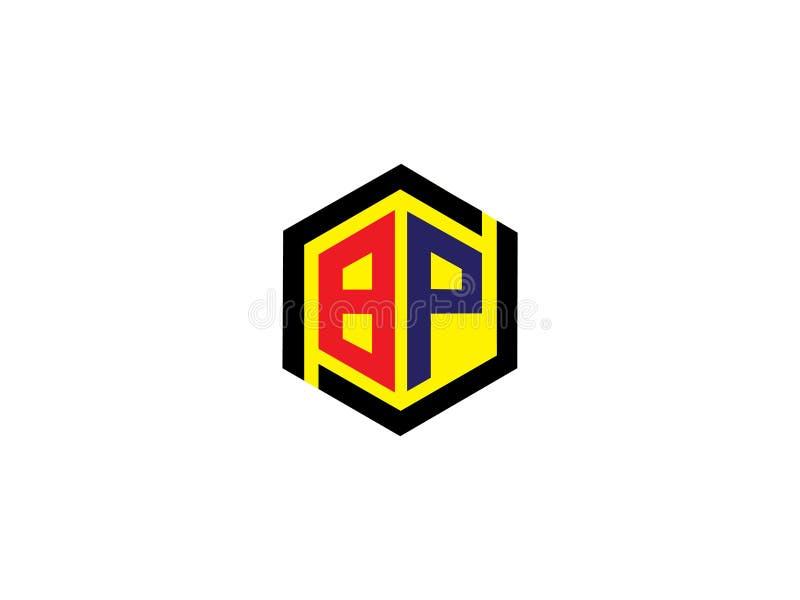 Элемент письма векторной графики логотипа дизайна шестиугольника BP начального письма клеймя иллюстрация штока