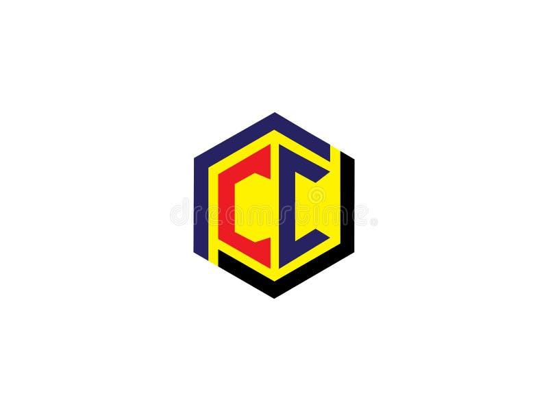 Элемент письма векторной графики логотипа дизайна шестиугольника CC начального письма клеймя бесплатная иллюстрация