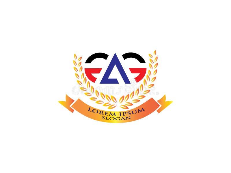 Элемент письма векторной графики логотипа дизайна GA начального письма клеймя бесплатная иллюстрация