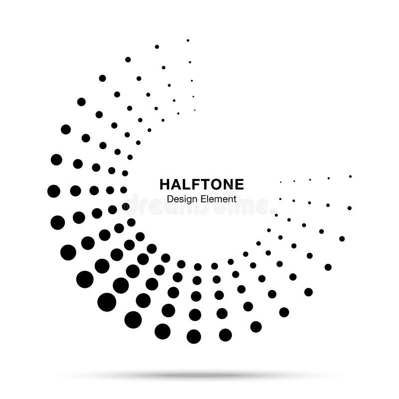 Элемент поставленный точки полутоновым изображением круга рамки конспекта точек логотипа эмблемы дизайна для медицинского, обрабо иллюстрация вектора