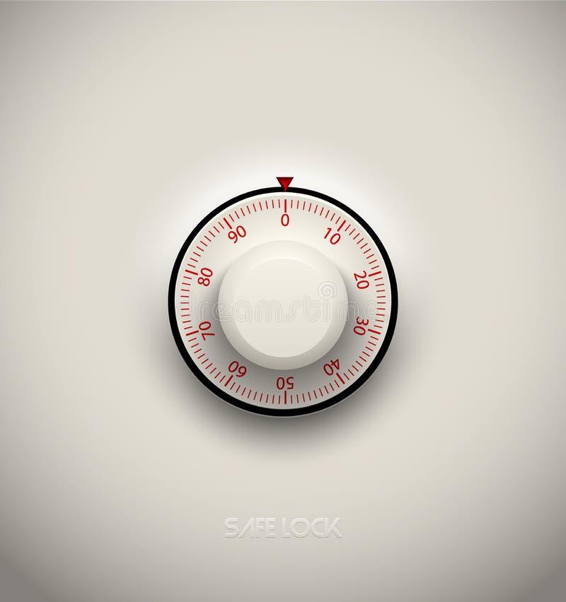 Элемент реалистического замка комбинации безопасного пластичный на белой предпосылке Красный круглый масштаб Элемент значка или д иллюстрация штока