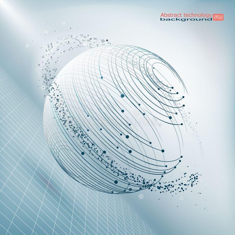 Элемент сетки Wireframe полигональный Сфера с соединенными линиями и точками Структура соединения Сложные геометрические формы ге иллюстрация вектора